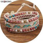Go2boho Dropshipping Miyuki Beads <b>Jewelry</b> Bracelet Cuff <b>Handmade</b> Women Leather Wrap Bracelets Friendship Gift Natural Stones
