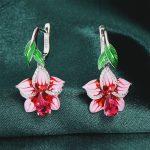 RainMarch Pink Flower Bohemian Enamel Silver Earrings For Women 925 Sterling Silver <b>Wedding</b> Earring Handmade enamel <b>Jewelry</b>