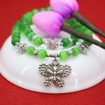 Double Layer 8mm Green Cat`s Eye Bracelet Silver butterfly Pendant Female Bracelet For Women Girl Gift Fashion <b>Jewelry</b> <b>Making</b>