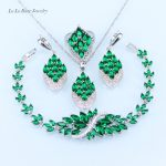 L&B <b>Bracelet</b> Jewelry Set for Women zircon Green created Emerald Pendant/Necklace/Earrings/Ring <b>silver</b> 925 jewelry