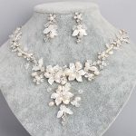 Delicate Bridal Necklace Earrings Set Sparkling Rhinestone Flower Pearl <b>Handmade</b> Wedding <b>Jewelry</b> Set Ornament Parting Gifts