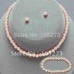 Kids Girls Pink Pearl Necklace <b>Bracelet</b> Earring 3pcs Set Flower Girl Pageant New Fashion Jewelry set Free Shipping FN610