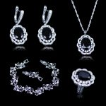 Exquisite Black Garnet White Zircon Jewelry Sets For Women 925 <b>Silver</b> Stamp <b>Silver</b> Color Jewelry Sets <b>Bracelets</b> earrings Set