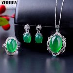 ZHHIRY Women Natural Green Chalcedony Big Gemstone Jewelry Sets Genuine 925 Sterling <b>Silver</b> Ring <b>Earrings</b> Necklace Pendant