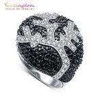 Yunkingdom exaggerated gorgeous womens rings black crystal cz big rings for women luxury fashion <b>jewelry</b>