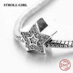 StrollGirl charms silver 925 with zirconia five star beads fit original pandora bracelet diy fashion <b>jewelry</b> <b>making</b> women gifts