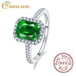 BONLAVIE Vintage Style Green Emerald Ring 925 <b>Sterling</b> <b>Silver</b> Anel Feminino Aneis Bijoux Engagement <b>Jewelry</b> Rings BN-1009R