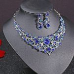 Silver Plated Celebrity Style Drop Crystal Necklace Earrings Set Bridal Bridesmaid Party <b>Wedding</b> Women Multi-color <b>Jewelry</b> Sets