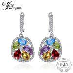 JewelryPalace luxury 5.3ct Genuine Amethyst Garnet Peridot Blue Topaz Drop Dangle Earrings 925 <b>Sterling</b> <b>Silver</b> <b>Jewelry</b> For Women