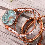 Latest 2018 – 5X Leather Wrap Beaded Bracelet Huge OceanStone Bracelet, Boho Chic <b>Jewelry</b>, Bohemian Bracelet Valentine's Gift