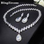 BlingZircons Luxury Women Statement <b>Jewelry</b> Sets Shiny Big Water Drop Cubic Zirconia Bridal Wedding Earrings <b>Necklace</b> Set JS023