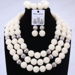 Trendy Nigerian Wedding African Beads Jewelry Sets White <b>Silver</b> Balls Bridal Jewelry Sets Big Design Necklace Set of Beads 2018