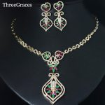 ThreeGraces <b>Jewelry</b> Vintage Gold Color <b>Jewelry</b> Green And Red CZ Crystal Stones Evening <b>Necklace</b> And Earring Sets For Women JS109