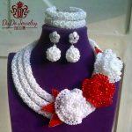 Big Design Costume <b>Jewelry</b> Set Fashion Pure White African Beads With <b>Handmade</b> Flowers Nigerian Wedding <b>Jewelry</b> Sets Ball Earring