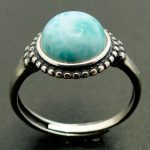 9MM Round Larimar Beads Woman Ring Natural Real Larimar 925 Sterling <b>Silver</b> Ring <b>Jewelry</b> for Girls