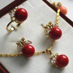 Prett Women's Wedding fancy <b>jewelry</b> set 10mm red shell pearl,ring, pendant & stud earring