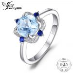 JewelryPalace Fashion 1.8 ct Round Natural Sky Blue Topaz & Sapphire Engagement Rings For Women 925 Sterling <b>Silver</b> Fine <b>Jewelry</b>
