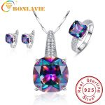 Round Real Rainbow Mystic Colorful Topaz Pendant Necklace/Ring/<b>Earring</b> For Women Wedding Gift Jewelry Set 925 Sterling-<b>Silver</b>