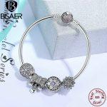 BISAER 925 <b>Sterling</b> <b>Silver</b> Bowknot Beads Heart Crystal Charms Snowflake Bangles & Bracelet for Women <b>Silver</b> 925 <b>Jewelry</b> EDB003