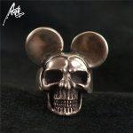 <b>Handmade</b> 925 Sterling Silver Skull Ring wih Ear Men Skull Rings Women's Punk <b>Jewelry</b> Personality Ring Gothic Halloween Cosplay