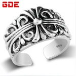 925 silver <b>handmade</b> Men's Rings Thai Silver <b>jewelry</b> retro ring opening cross birthday gift