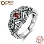 BAMOER Authentic 925 Sterling Silver Punk Weave Finger Ring Geometric Rings For Women Sterling Silver Vintage <b>Jewelry</b> SCR059