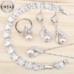 Women Costume Freshwater Natural Pearl 925 Silver <b>Jewelry</b> Sets White Zircon Bracelets Pendant&Necklace Rings Earrings Gift Box
