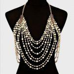 Luxury sexy chain pearl harness necklace women elegant shoulder chain tassel bohemian <b>wedding</b> bridal waist <b>jewelry</b>