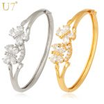 U7 Romantic Butterfly Bangles Top Quality AAA+ Zirconia <b>Jewelry</b> Women Gift Wholesale Gold Color Bracelets & Bangles H336