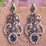 Wholesale Blucome Vintage Women Blue Long Turkish Earrings Acrylic <b>Jewelry</b> <b>Antique</b> Gold Metal Flower Pendientes Free Shipping
