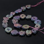AAA-Grade 15.5″Strands Rainbow Titanium Druzy Quartz Geode Beads,Raw Crystal Drusy Slab Round Pendant Beads <b>Jewelry</b> <b>Making</b>
