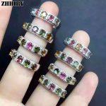 Women natural Tourmaline gem ring 925 <b>sterling</b> <b>silver</b> Lady's gem stone <b>jewelry</b> ZHHIRY