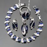 Silver 925 Natural Blue Stones <b>Jewelry</b> Sets For Women White CZ Ring Size 6/7/8/9/10 Bracelet Length 20CM Free Box