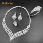 Hadiyana Top quality Bridal <b>Jewelry</b> Sets For Women Elegent Zircon Paved By Hand V Design, 4pcs Wedding Sets for Woman 2356w
