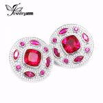 8.9ct AAA H&A Cut Pigeon Created Ruby Clip <b>Earring</b> Rhodium Plated S925 Sterling <b>Silver</b> Gem Stone and Cubic Zirconia Jewelry