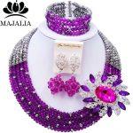 Majalia Romantic African Jewelery Set Purple <b>silver</b> Crystal Beads Bride Jewelry Nigerian Wedding Jewelry Sets 5CC0012