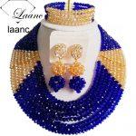 Royal Blue and Gold AB Africa Beads <b>Jewelry</b> Set Fashion Nigerian Wedding AL131