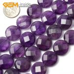 17mm 20mm Natural Purple Amethysts Coin Shape Gem stone Faceted and Smooth Beads For <b>Jewelry</b> <b>Making</b> Beads 15 Inches