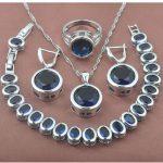 Classic Blue Stone Zirconia Women's 925 Sterling Silver <b>Jewelry</b> Sets Bracelet Necklace Pendant Earrings Ring YZ0371
