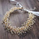 Wedding hair accessories handmade beaded bridal hair <b>jewelry</b> gold head band crystal headdress leaf headpieces leaves headband
