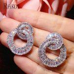 RAKOL Trendy Big 2 Circle Shape Cubic Zircon Micro Stone Pave Stud Earrings For Bridal Luxury Wedding <b>Jewelry</b> Women Bijoute