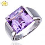 Hutang Big Square Amethyst Gemstone <b>Jewelry</b> Fine Rings for Women 925 <b>Sterling</b> <b>Silver</b> Finger Ring Punk Ladies Anel Koyle Wedding