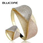 Blucome New Design Bow Tie Shape Wedding <b>Jewelry</b> Sets Heavy Wide Bangle Ring Set Full Cubic Zircons Three Tones Copper Bijoux