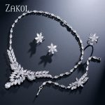 ZAKOL Luxury Marquise Cubic Zircon Cluster <b>Jewelry</b> Set Sliver Color Wedding <b>Jewelry</b> For Women Engagement FSSP235