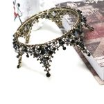 Baroque Princess Handmade Black Crystal Big Round Crown Tiara Bridal Hair <b>Jewelry</b> Wedding Hair Accessories Headbands For Women