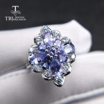 TBJ,natural tanzanite gemstone ring in 925 sterling <b>silver</b> luxury shiny precious stone <b>jewelry</b> for lady women mom wife as gift
