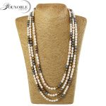 YouNoble freshwater long pearl <b>necklace</b> women,real natural pearl <b>necklace</b> wedding jewelry best gift girl colorful anniversary