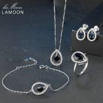 LAMOON Teardrop Real Blue Sapphire Wedding Jewelry Sets 925 sterling-<b>silver</b>-jewelry Women Bridal Party Elegant Accessory V040-1
