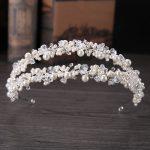 Gorgeous Vintage <b>Handmade</b> Silver Crystals Pearls Wedding Tiara Headband Bridal Hair accessories Princess Crown Women <b>Jewelry</b>