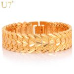 U7 Gold Color Heart Bracelet <b>Jewelry</b> Wristband 17MM 20CM Chunky Big Chain Bracelets Bangles For Men Fathers Day Gifts H684
